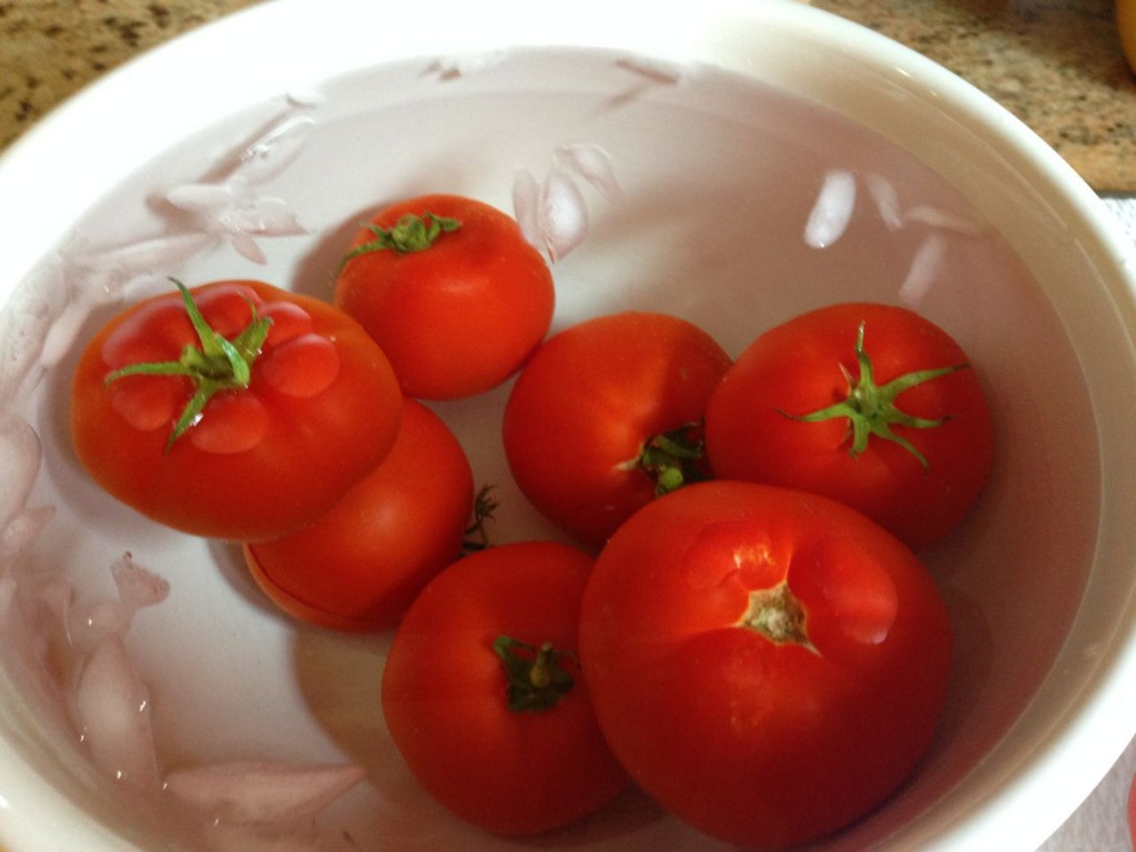 Tomatoes in ice bath