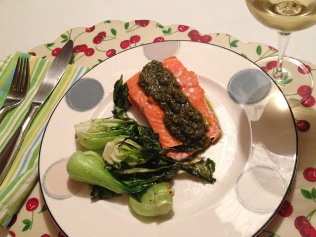 Salmon topped with pesto