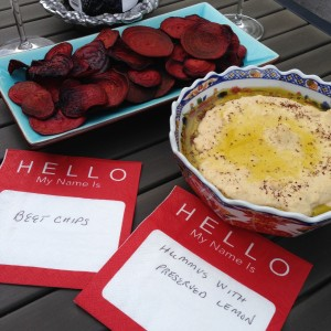 Hummus with Preserved Lemon & Beet Chips served alfresco