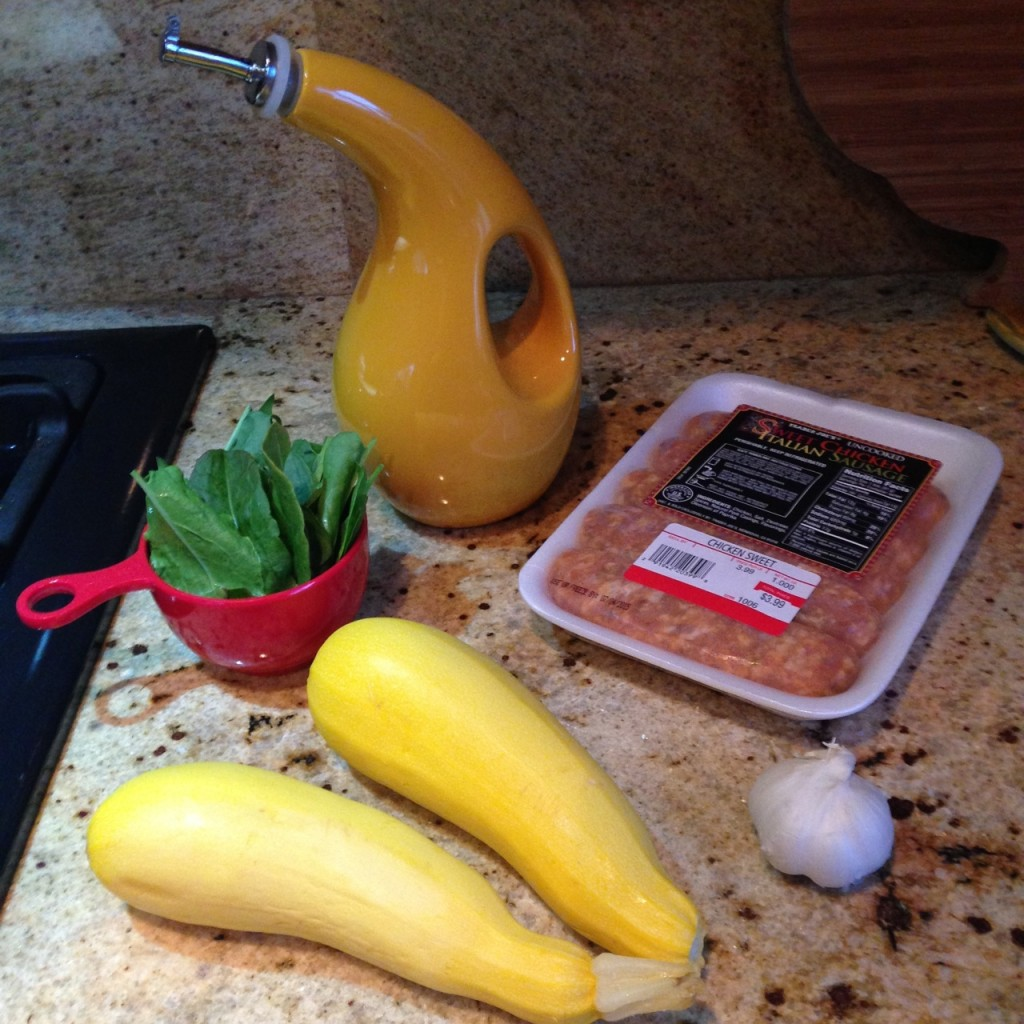 ingredients for Golden Squash Noodles & Sausage with Sorrel