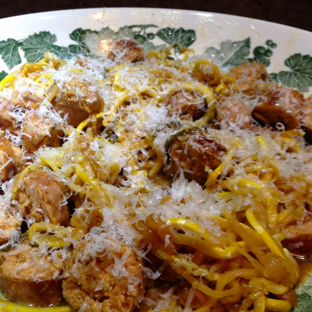 Golden Squash Noodles & Sausage with Sorrel
